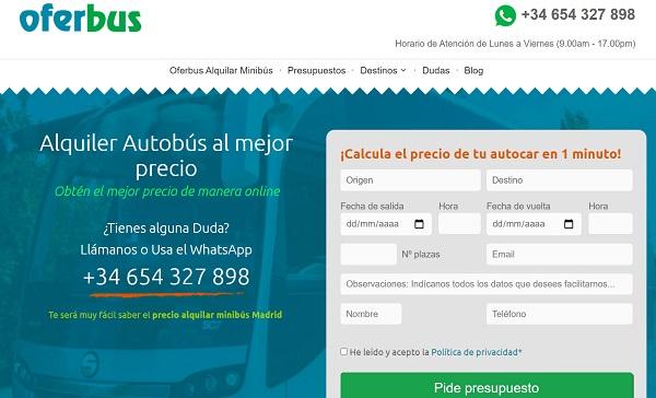 Calcular Presupuesto Alquiler Minibús Madrid